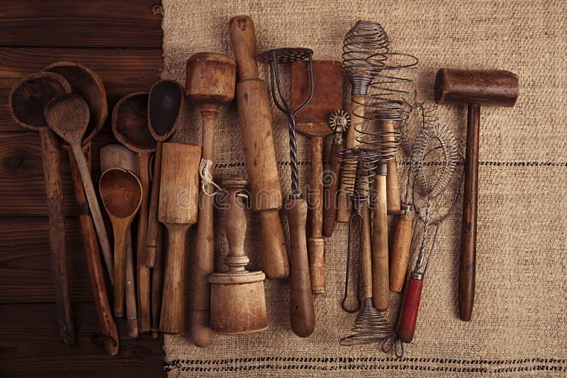 Real vintage kitchen utensils royalty free stock photos
