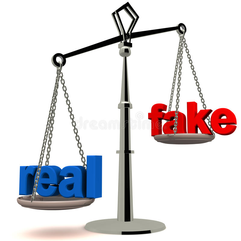 Real versus fake. Real vs fake concept, glossy balance with both words on white background, real in blue, fake in red royalty free illustration