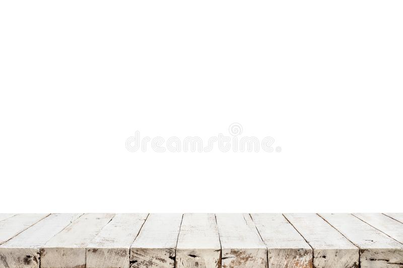 Real white wood table top texture on white background stock photography