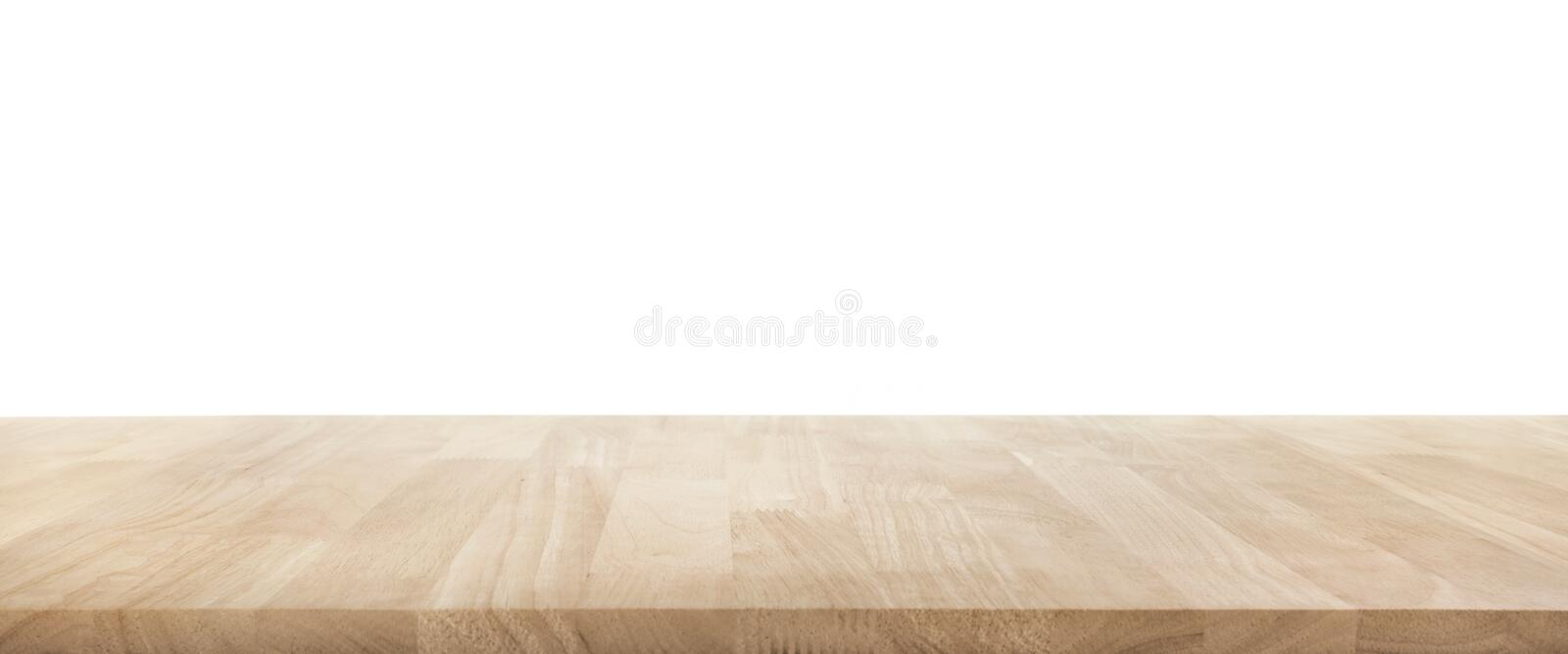 Real wood table top texture on white background. stock photo