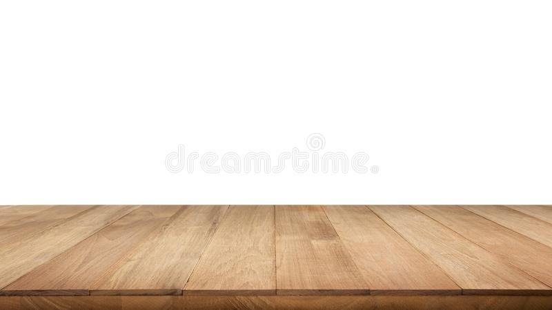 Real wood table top texture on white background. royalty free stock image