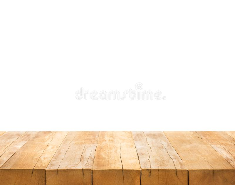 Real wood table top texture on white background royalty free stock photo