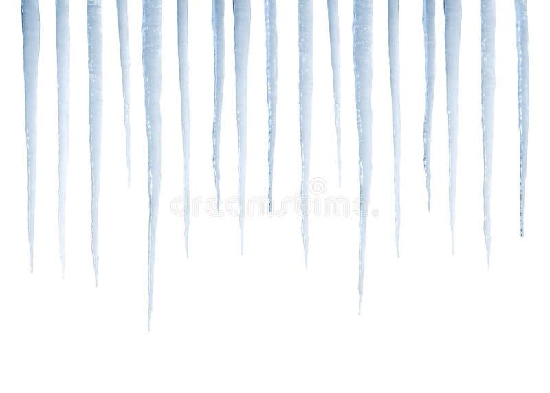 Reale Eiszapfen getrennt auf Weiß stockbilder