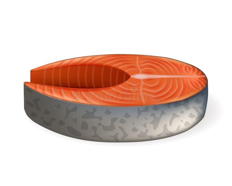 Reales Vektorbild des Lachssteaks Lachsfisch-Slice lizenzfreie abbildung