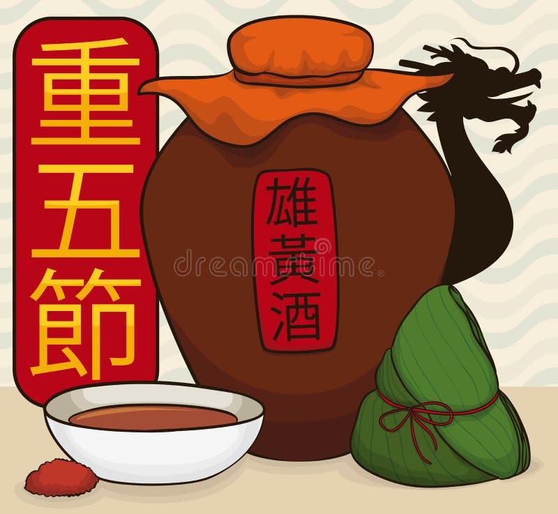Realgar Wine, Zongzi Dumpling and Dragon for Double Fifth Festival, Vector Illustration. Traditional elements for Double Fifth Festival -or Duanwu Festival vector illustration