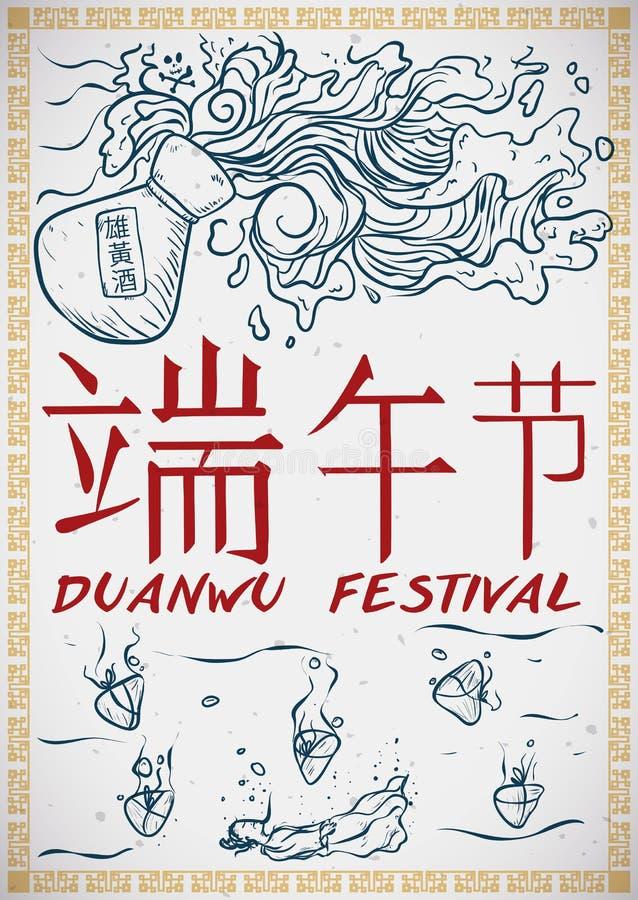 Realgar Wine, Zongzi Dumplings Commemorating the Legend of Duanwu Festival, Vector Illustration. Hand drawn poster commemorating the legend of Qu Yuan in Duanwu royalty free illustration