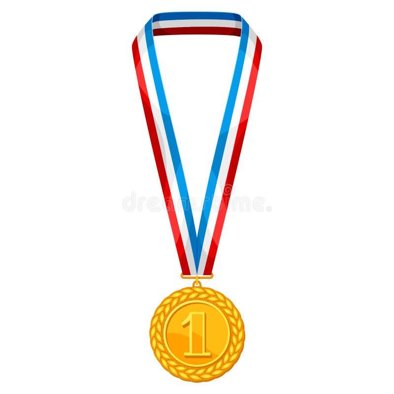 Realictic guldmedalj med det mång- kulöra bandet Illustration av utmärkelsen för sportar eller företags konkurrenser royaltyfri illustrationer