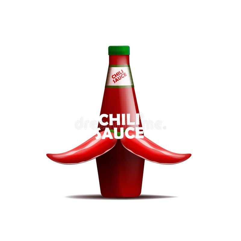 Realictic-Vektorillustration der Flasche Chili-Sauce mit einem Schnurrbart von Paprikapfeffern Getrennt auf weißem Hintergrund vektor abbildung
