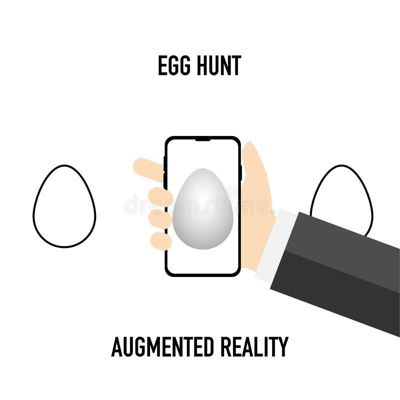 Realidad aumentada caza del huevo con el teléfono móvil ilustración del vector