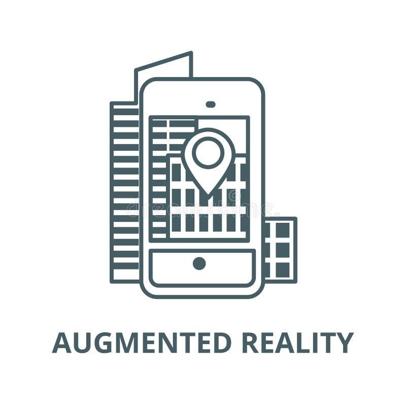 Realidad aumentada, ciudad en la línea icono, vector del smartphone Realidad aumentada, ciudad en la muestra del esquema del smar stock de ilustración