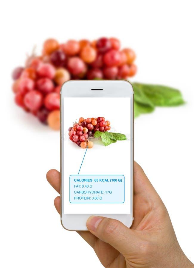 Realidad aumentada o AR App que muestra la información de la nutrición de Foo imágenes de archivo libres de regalías