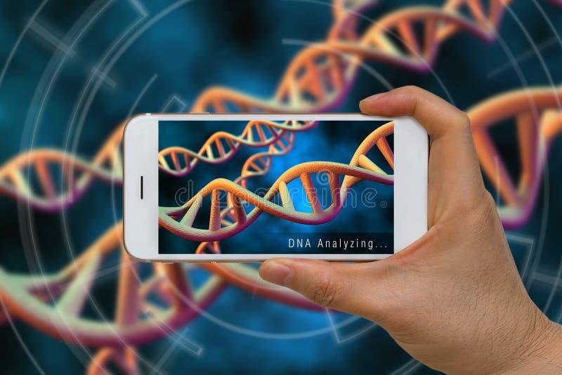 Realidad aumentada o tecnología de AR de la DNA, cromosoma, gen, anecdotario fotos de archivo
