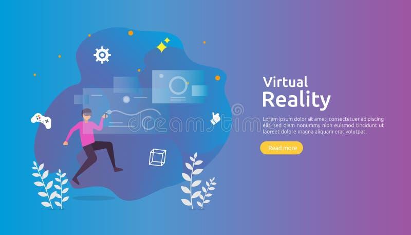 Realidad aumentada virtual carácter de la gente que toca el interfaz de VR y que lleva las gafas que juegan a los juegos, educaci ilustración del vector