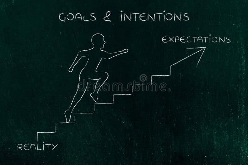 Realidad o expectativas, metáfora de las escaleras del hombre que sube stock de ilustración