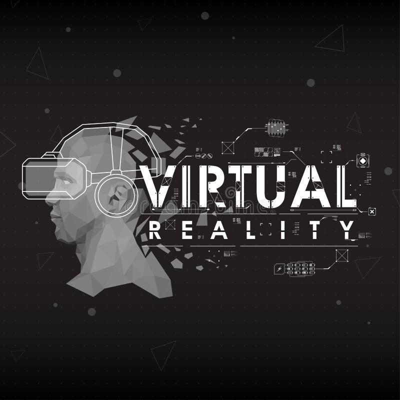 Realidad virtual Letras con los elementos futuristas de la interfaz de usuario ilustración del vector