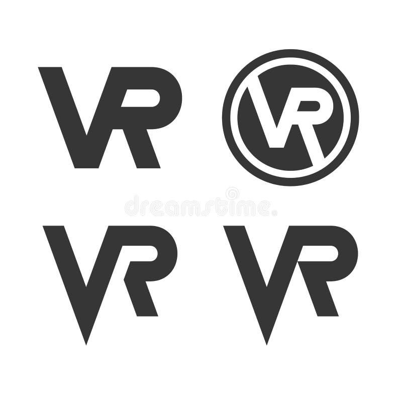 Realidad virtual Logo Icon Set en el fondo blanco Vector ilustración del vector