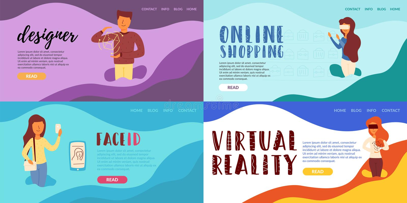 Realidad virtual que hace compras en línea del diseñador ilustración del vector