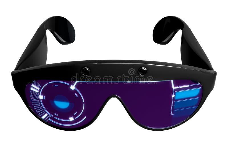 realidad virtual VR de la representación 3d que diseña los vidrios con el gráfico de HUD, aislado en el fondo blanco ilustración del vector