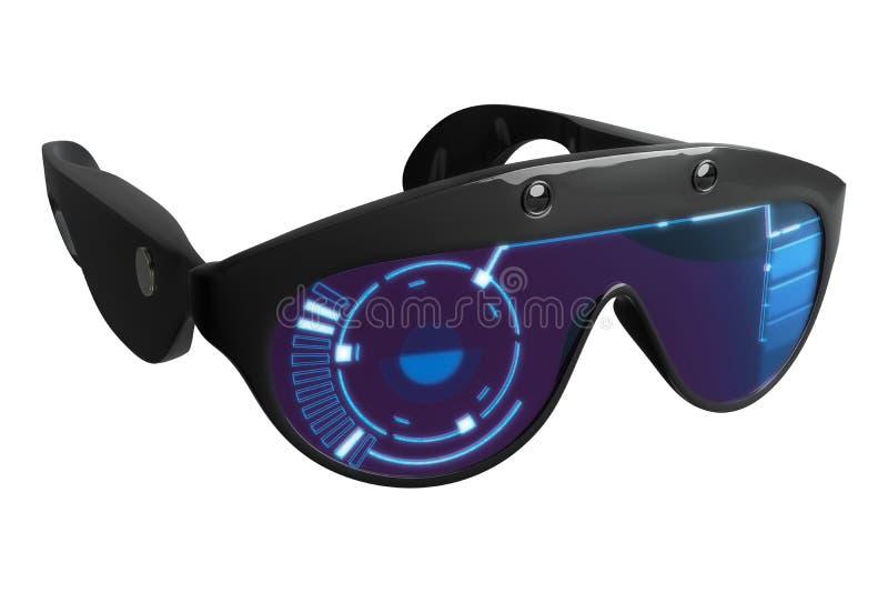 realidad virtual VR de la representaci?n 3d que dise?a los vidrios con el gr?fico de HUD, aislado en el fondo blanco ilustración del vector