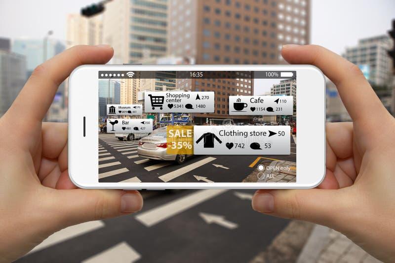 Realidade aumentada no mercado fotos de stock