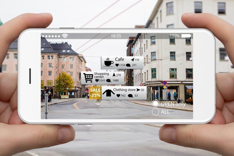 Realidade aumentada no mercado imagens de stock