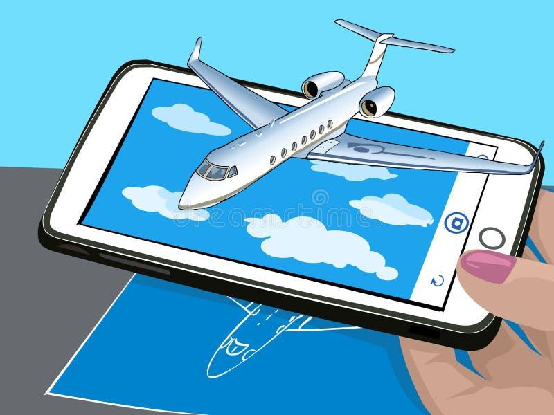Realidade aumentada Novas tecnologias para a apresentação O plano voa sobre as nuvens Visualização do desenho no papel Vetor ilustração stock