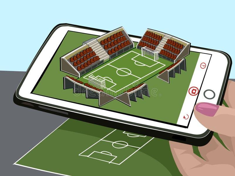 Realidade aumentada Novas tecnologias para esportes Esboço do estádio de futebol e imagem tridimensional Visualize o desenho Veto ilustração do vetor