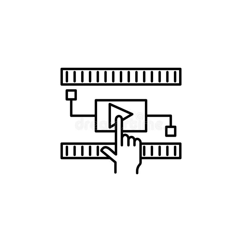 Realidade aumentada, tecnologia, ícone interativo, video Elemento do ícone da nova tecnologia no fundo branco ilustração royalty free