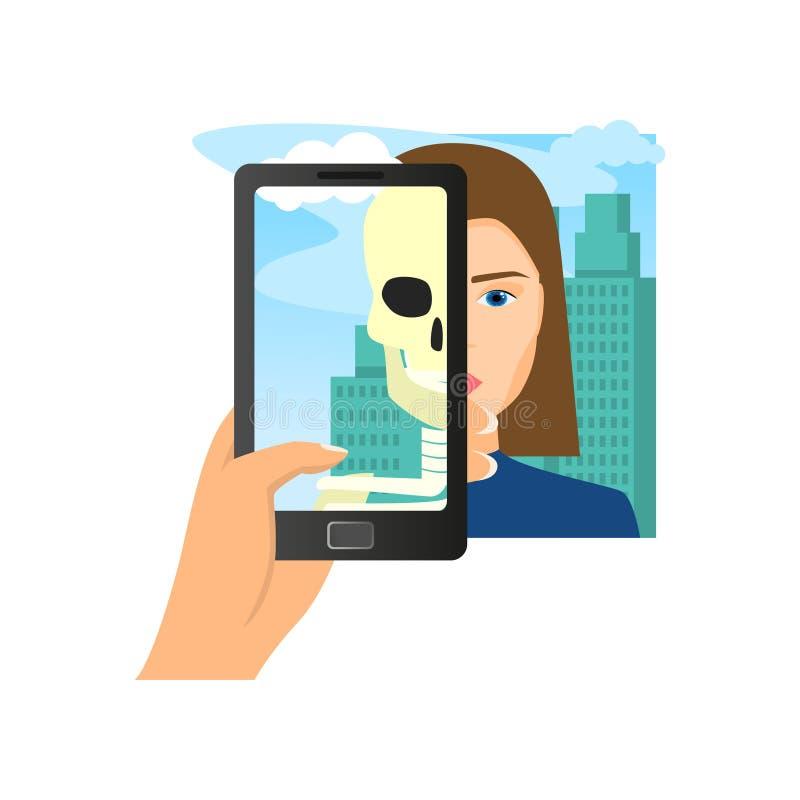Realidade aumentada usando o cr?nio da mulher da serra do smartphone ilustração royalty free