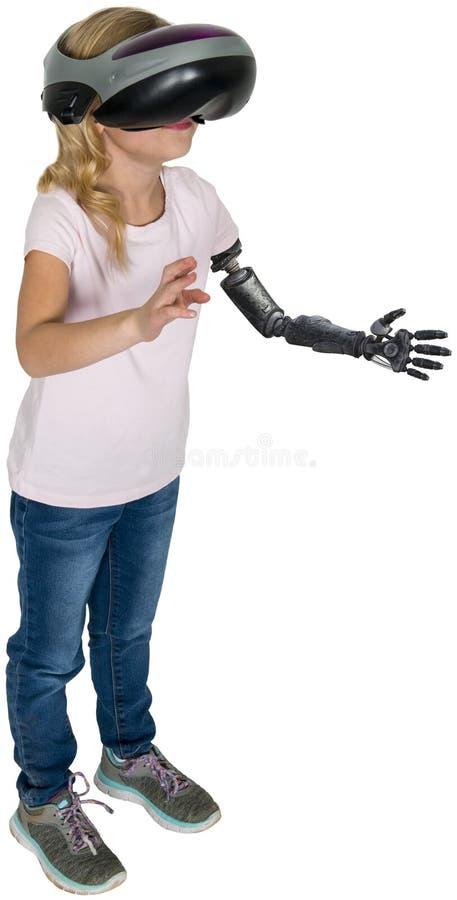 A realidade virtual, isolada, jogo da moça, faz para acreditar foto de stock royalty free