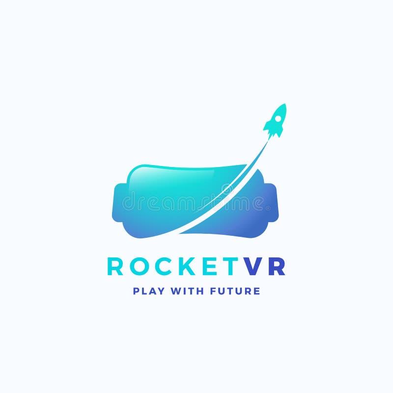 Realidade virtual Rocket Abstract Vetora Icon, sinal, ou Logo Template Silhueta eletrônica dos auriculares dos vidros com ilustração royalty free