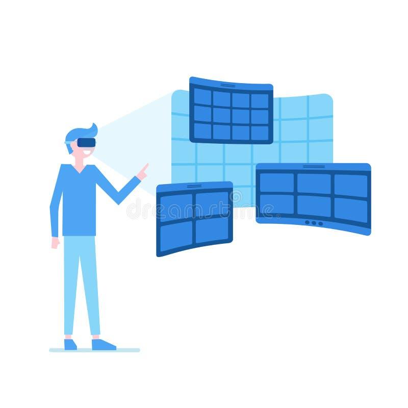 Realidade virtual tentada pelo homem ilustração royalty free
