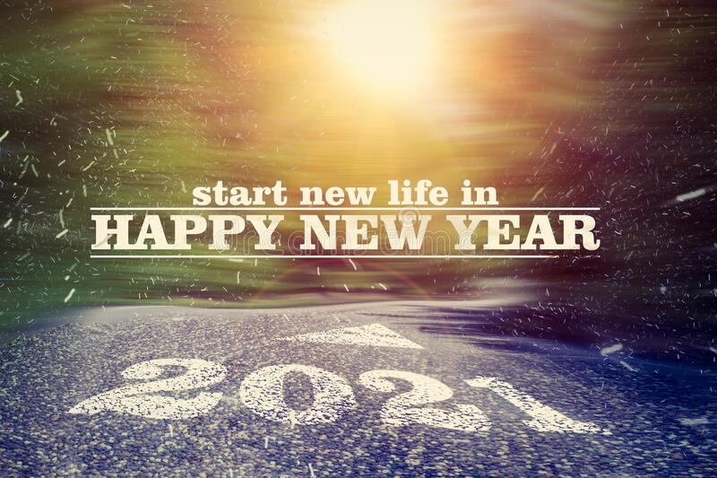 Inspiritual realisation motivation slogan of wish new life in happy new year. Realisation motivation slogan of wish new life in happy new year royalty free stock images