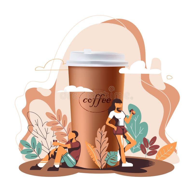 realismo 3D y diseño plano, una gran taza de café y café de la bebida de la gente stock de ilustración