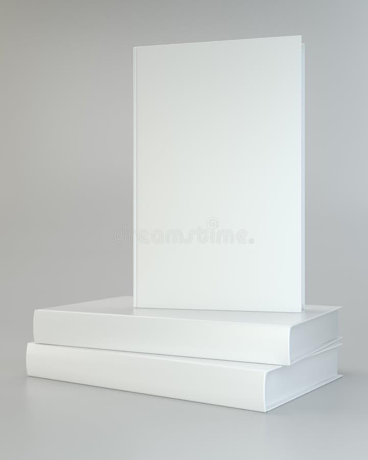 Realista blanco de libros en fondo gris libre illustration