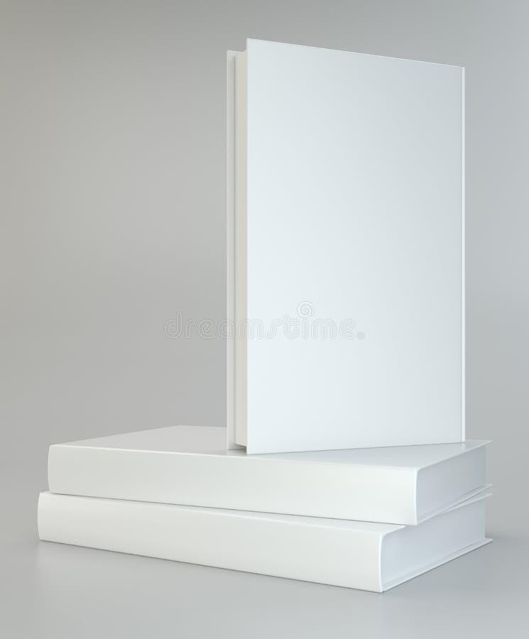 Realista blanco de libros en fondo gris stock de ilustración