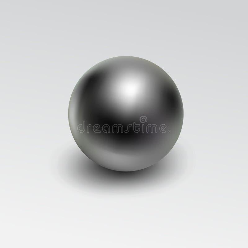 Realista de la bola de metal de Chrome aislado en el fondo blanco stock de ilustración