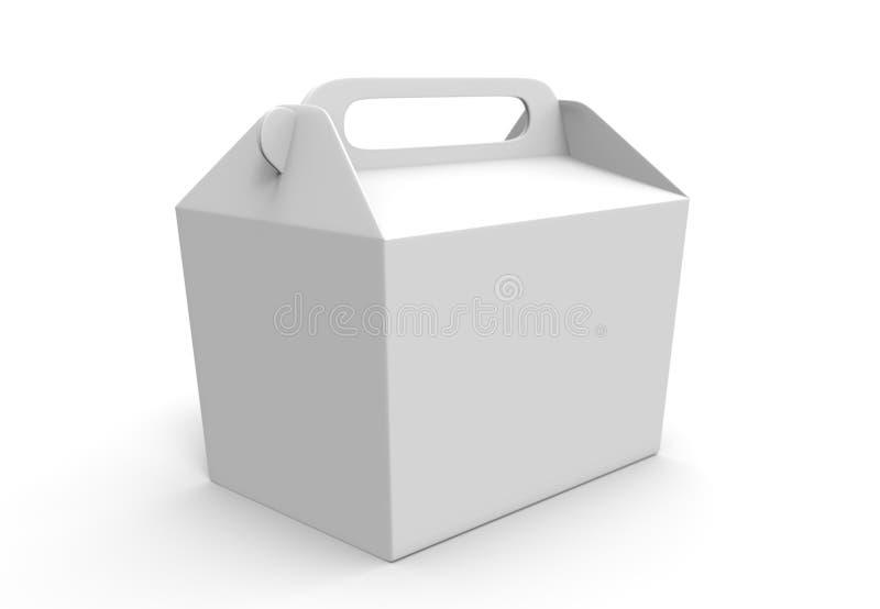 Realista llévese la mofa de la caja de la comida instalada aislada en el fondo blanco 3d rinden el ejemplo La cartulina blanca en libre illustration