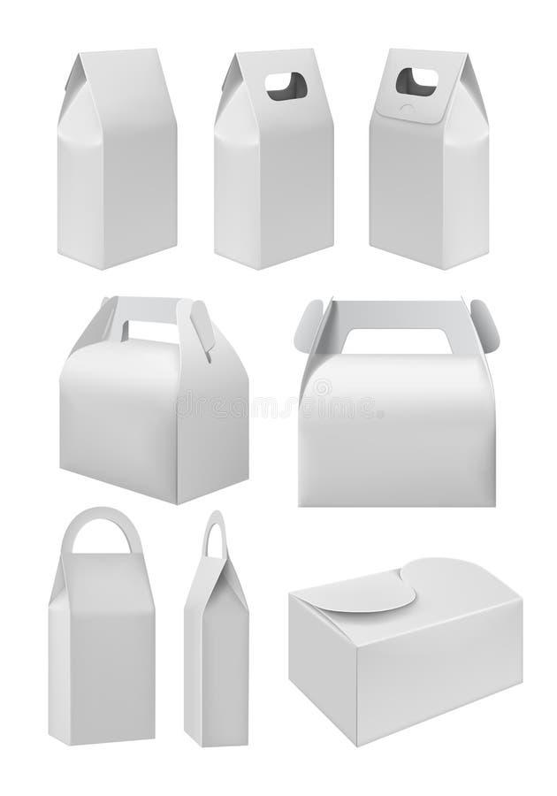 Realista llévese la mofa de la caja de la comida instalada ilustración del vector