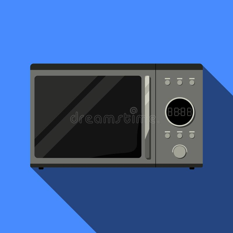 Realista microonda Front View Metal y vidrio Vector Ima ilustración del vector