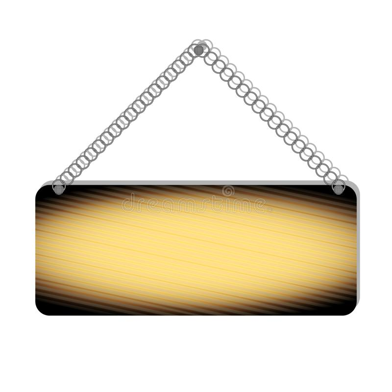 Realista quem? el bolet?n de madera, tablero de la muestra, suspendido en una cadena del metal stock de ilustración