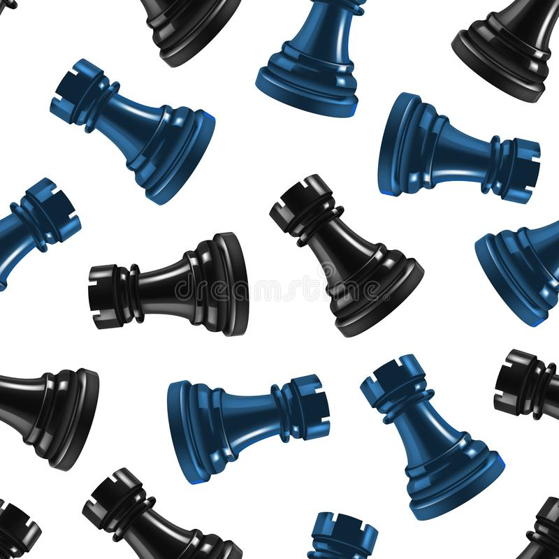 Free Realistic 3d Chess Black Rook Seamless Pattern Background. Vector Royalty Free Stock Images - 113625199