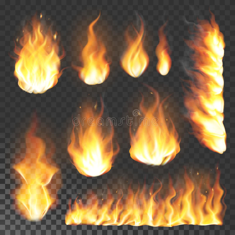 Free Realistic 3d Fire Flame Flare Blaze Burning Vector Illustration On Transparent Background Stock Image - 95211811