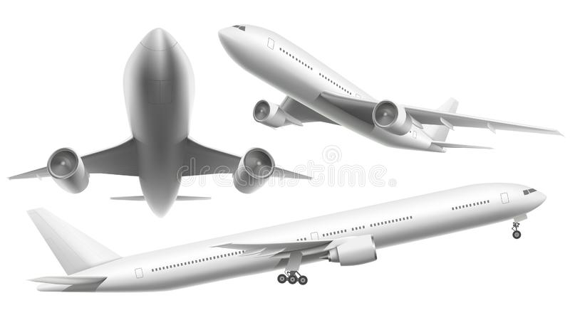 Realistic aircraft. Passenger plane, sky flying aeroplane and airplane in different views isolated vector illustration. Realistic aircraft. Passenger plane, sky stock illustration