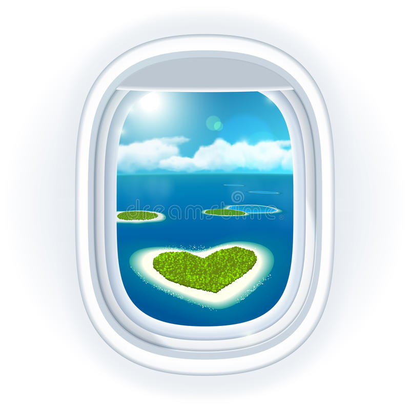 Realistic aircraft porthole (window) with blue sea or ocean in it and small tropical islands. vector illustration