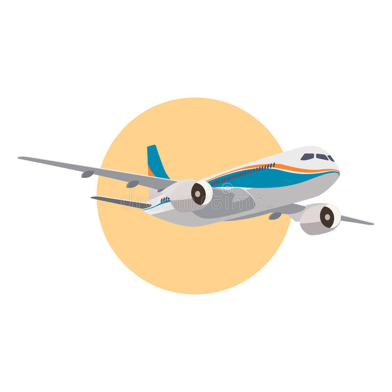 Realistic aircraft in vector. Passenger large airplane icon vector illustration
