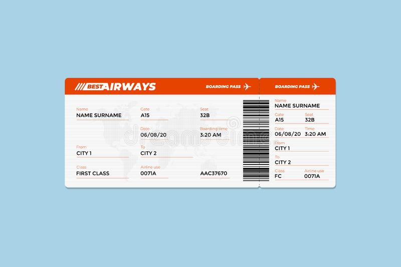 Realistic airline flight ticket boarding pass design template with first class passenger name and barcode. Air travel by stock illustration