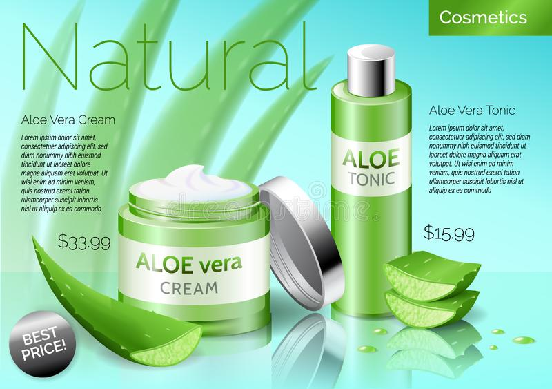Realistic Aloe vera cosmetics products, bottle with tonic and cream stock illustration