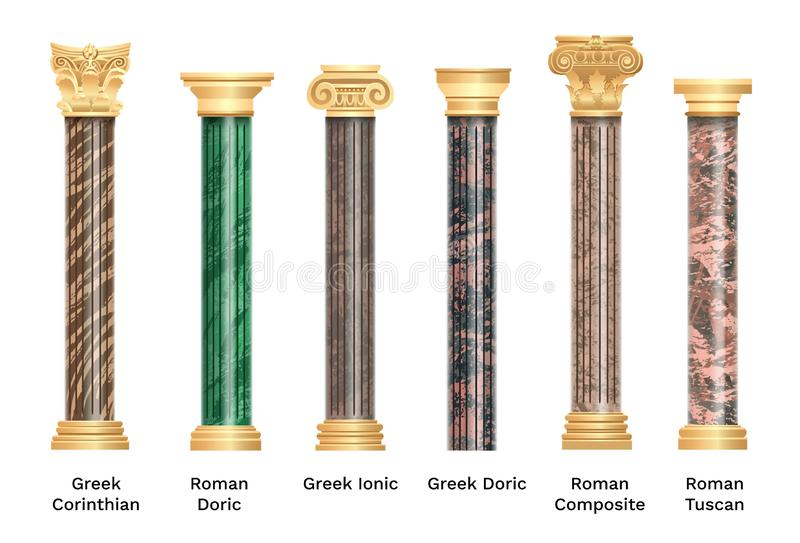 Realistic ancient pillars set isolated on white background. Different architecture pillars with stone effect. Classical columns royalty free illustration
