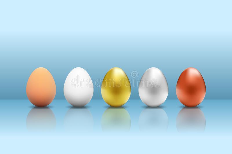 Realistic animal or chicken egg set, white gold silver and copper metallic isolated with shadows and reflection on blue background stock illustration